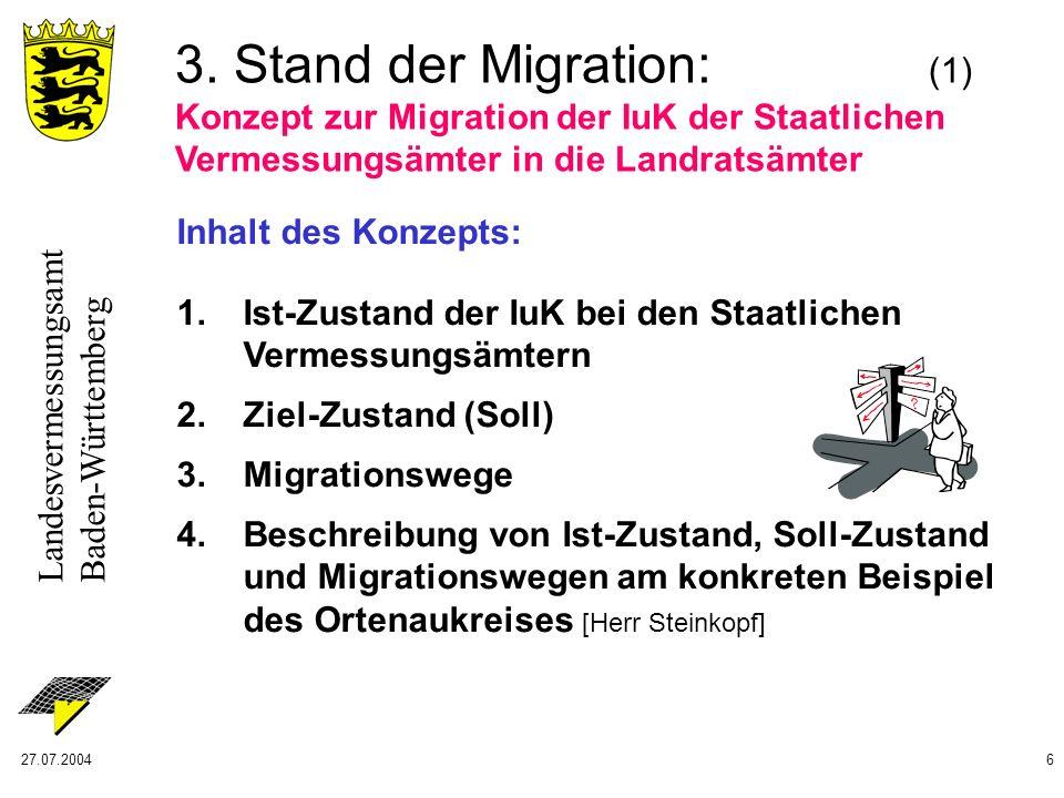 Landesvermessungsamt Baden-Württemberg 27.07.20046 3. Stand der Migration: (1) Konzept zur Migration der IuK der Staatlichen Vermessungsämter in die L