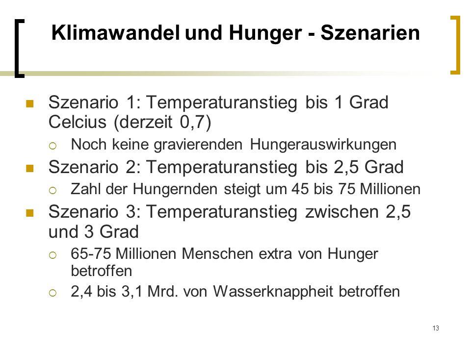 13 Klimawandel und Hunger - Szenarien Szenario 1: Temperaturanstieg bis 1 Grad Celcius (derzeit 0,7) Noch keine gravierenden Hungerauswirkungen Szenar