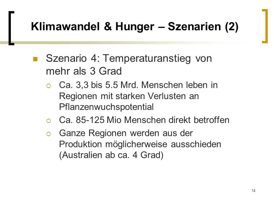 14 Klimawandel & Hunger – Szenarien (2) Szenario 4: Temperaturanstieg von mehr als 3 Grad Ca. 3,3 bis 5.5 Mrd. Menschen leben in Regionen mit starken