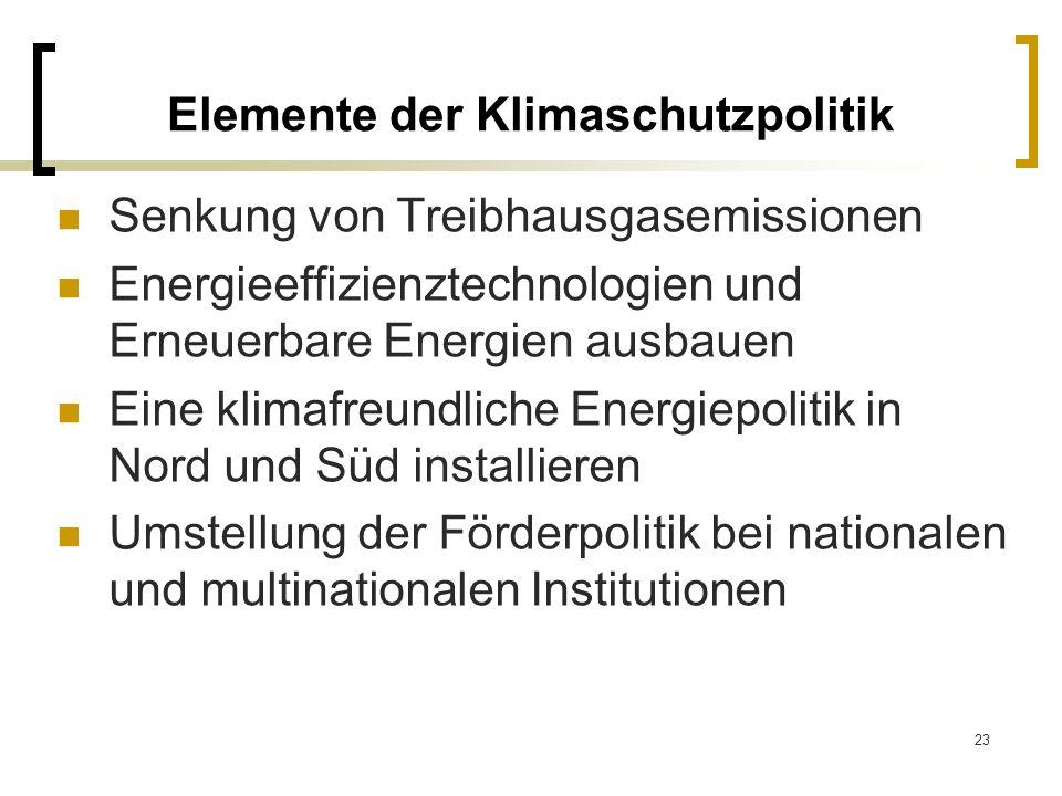 23 Elemente der Klimaschutzpolitik Senkung von Treibhausgasemissionen Energieeffizienztechnologien und Erneuerbare Energien ausbauen Eine klimafreundl