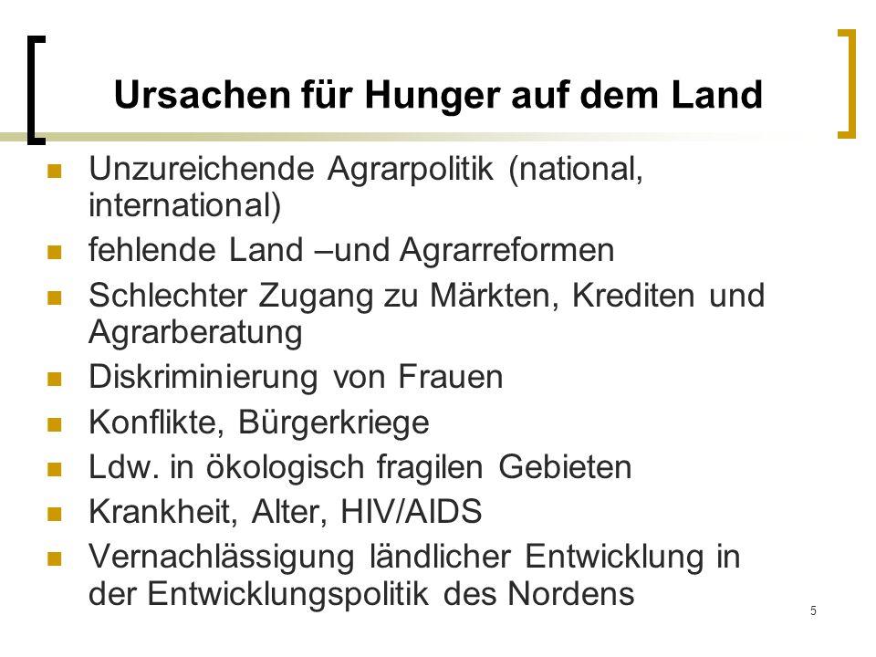 5 Ursachen für Hunger auf dem Land Unzureichende Agrarpolitik (national, international) fehlende Land –und Agrarreformen Schlechter Zugang zu Märkten,