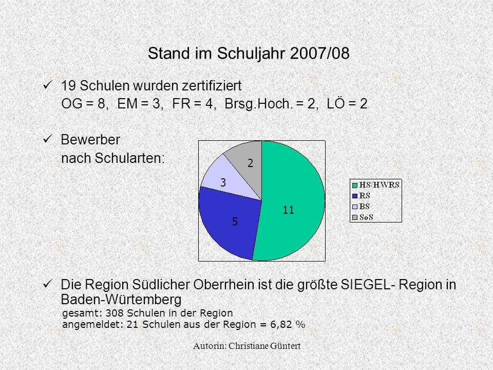 Autorin: Christiane Güntert Stand im Schuljahr 2007/08 19 Schulen wurden zertifiziert OG = 8, EM = 3, FR = 4, Brsg.Hoch.