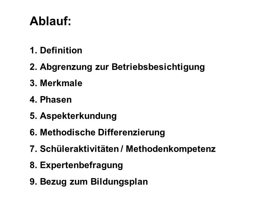 Ablauf: 1.Definition 2.Abgrenzung zur Betriebsbesichtigung 3.Merkmale 4.Phasen 5.Aspekterkundung 6.Methodische Differenzierung 7.Schüleraktivitäten /