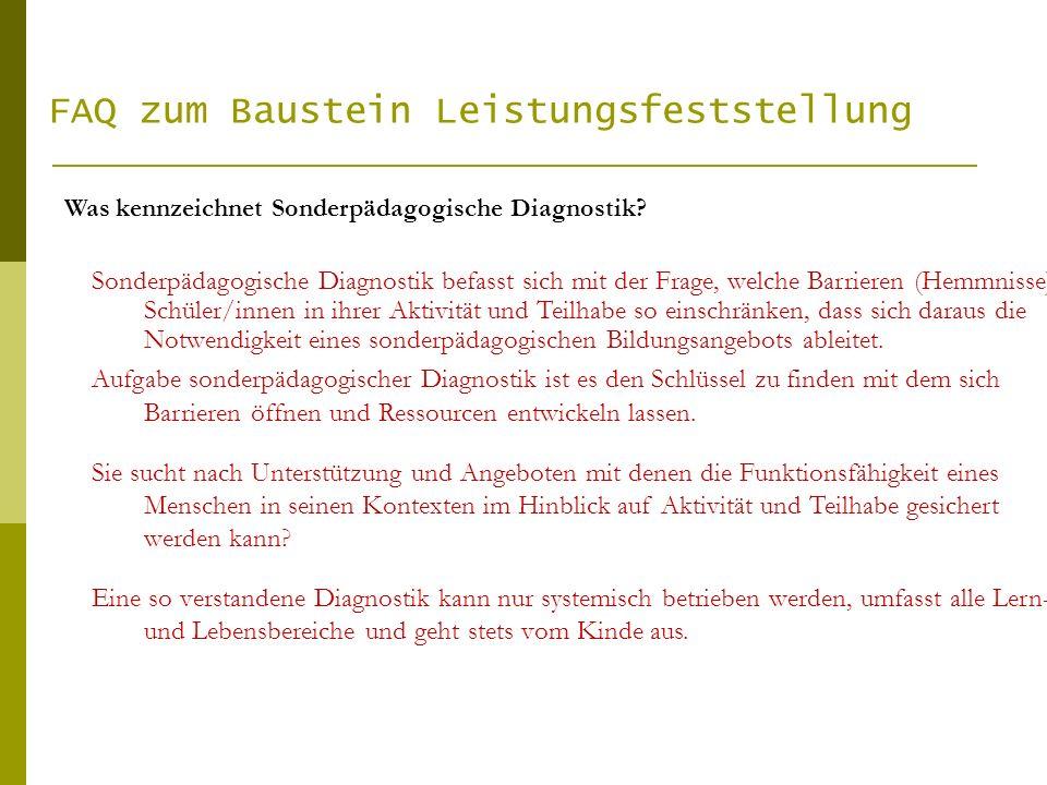 FAQ zum Baustein Leistungsfeststellung Zwischen Diagnostik und Leistungsfeststellung und –beschreibung besteht ein enger Zusammenhang und entsprechend Schnittmengen.