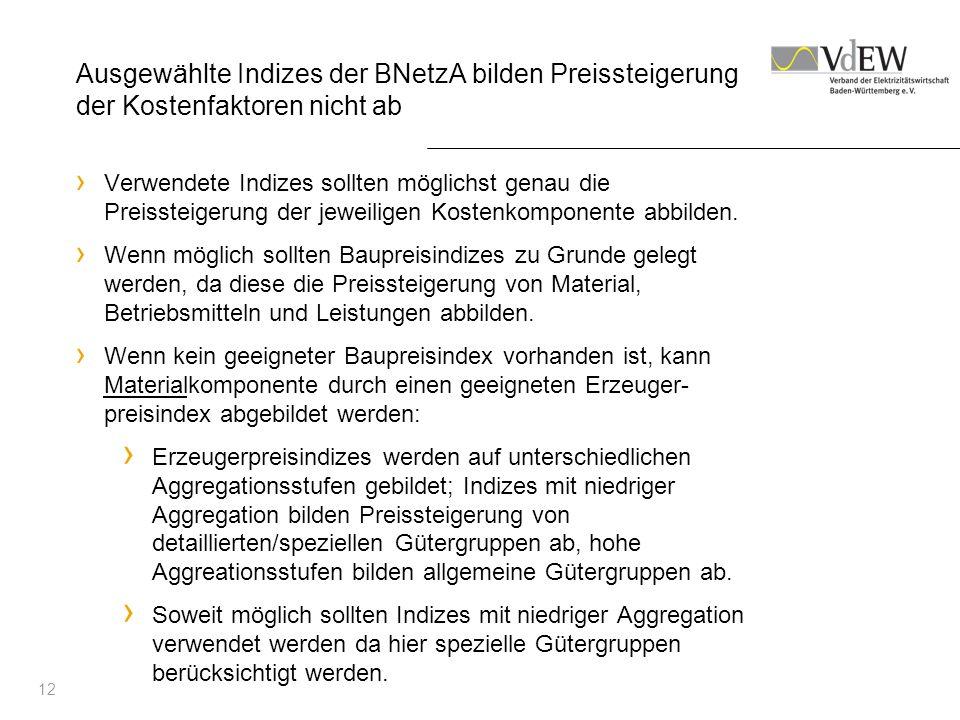 12 Ausgewählte Indizes der BNetzA bilden Preissteigerung der Kostenfaktoren nicht ab Verwendete Indizes sollten möglichst genau die Preissteigerung de