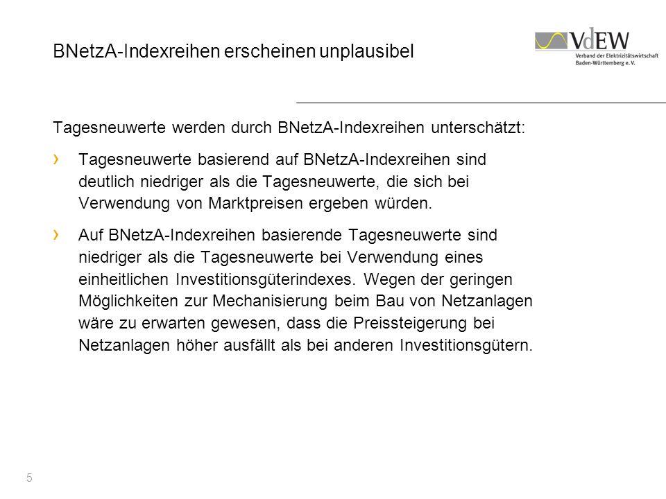 6 Generelle Kritik am Vorgehen der BNetzA Vergleich von Tagesneuwerten mit tatsächlich anfallenden Anschaffungs- und Herstellkosten wird als Plausibilitätstest nicht anerkannt.