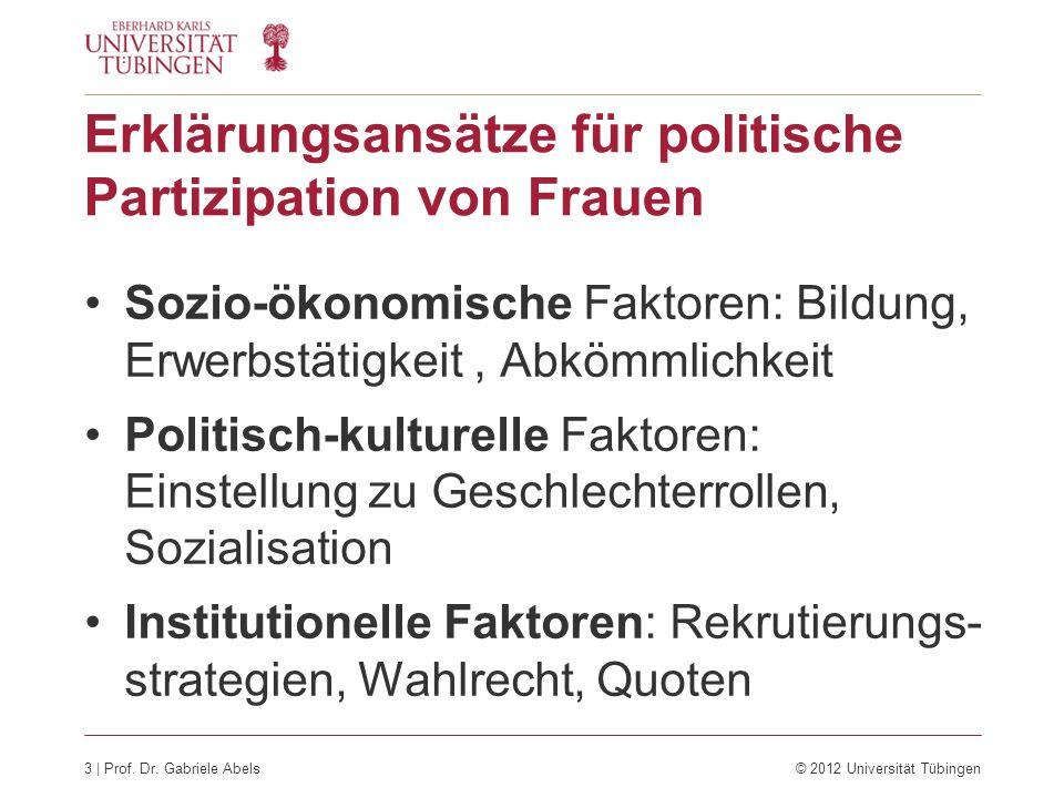 4 | Prof. Dr. Gabriele Abels© 2012 Universität Tübingen