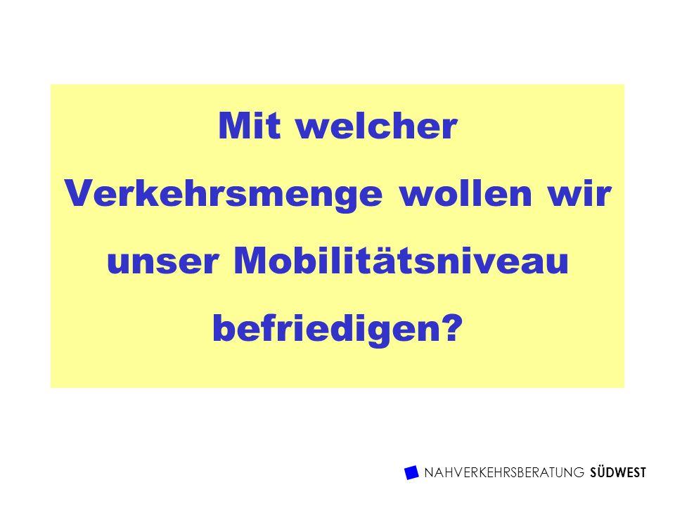 Mit welcher Verkehrsmenge wollen wir unser Mobilitätsniveau befriedigen?
