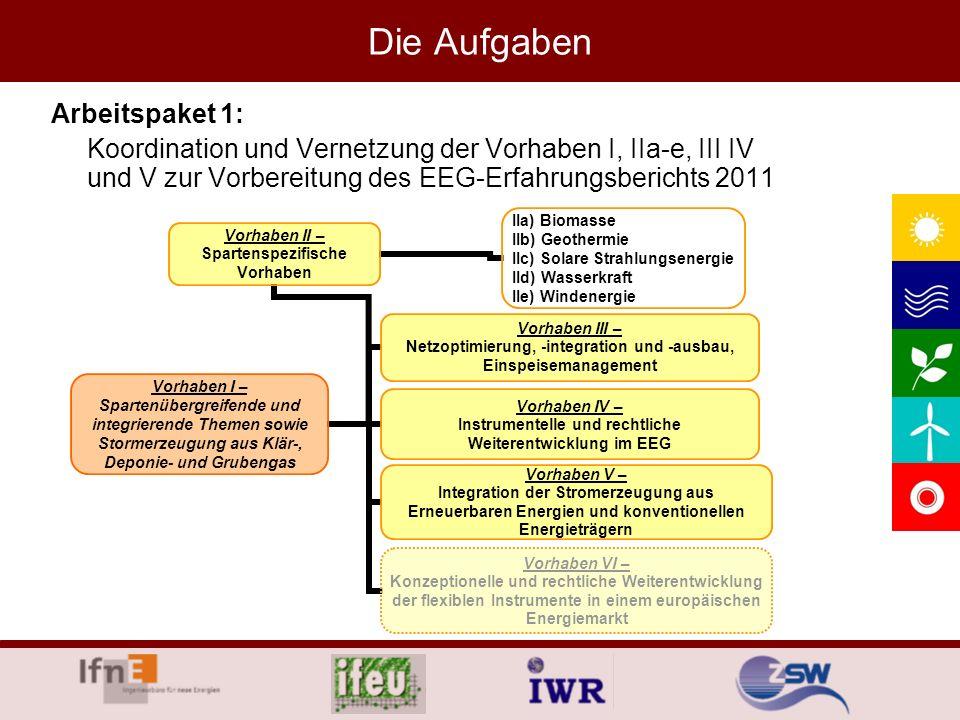 Die Aufgaben Arbeitspaket 1: Koordination und Vernetzung der Vorhaben I, IIa-e, III IV und V zur Vorbereitung des EEG-Erfahrungsberichts 2011 Vorhaben