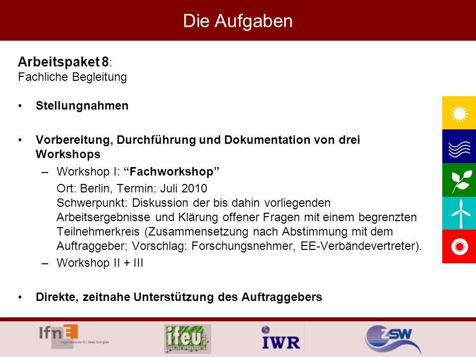 Stellungnahmen Vorbereitung, Durchführung und Dokumentation von drei Workshops –Workshop I: Fachworkshop Ort: Berlin, Termin: Juli 2010 Schwerpunkt: D