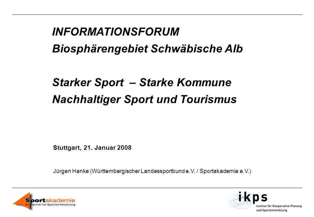 INFORMATIONSFORUM Biosphärengebiet Schwäbische Alb Starker Sport – Starke Kommune Nachhaltiger Sport und Tourismus Stuttgart, 21. Januar 2008 Jürgen H
