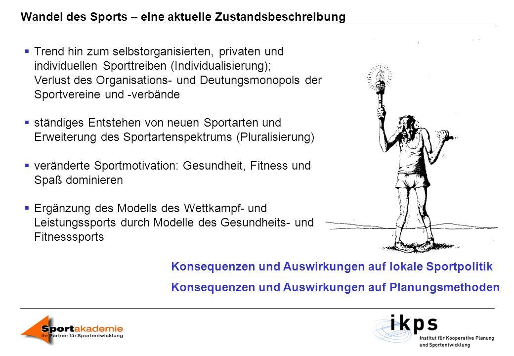 Wandel des Sports – eine aktuelle Zustandsbeschreibung Trend hin zum selbstorganisierten, privaten und individuellen Sporttreiben (Individualisierung)