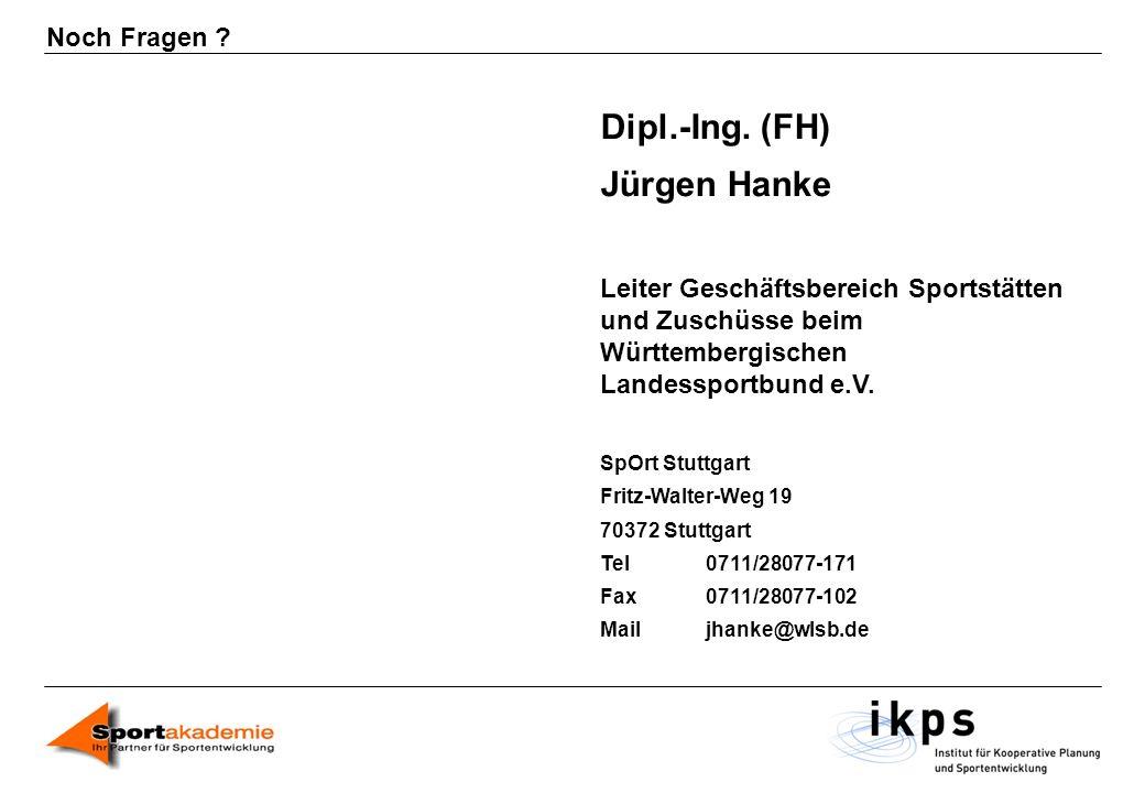 Noch Fragen ? Dipl.-Ing. (FH) Jürgen Hanke Leiter Geschäftsbereich Sportstätten und Zuschüsse beim Württembergischen Landessportbund e.V. SpOrt Stuttg