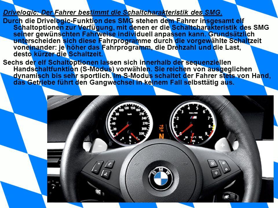 Drivelogic: Der Fahrer bestimmt die Schaltcharakteristik des SMG. Durch die Drivelogic-Funktion des SMG stehen dem Fahrer insgesamt elf Schaltoptionen