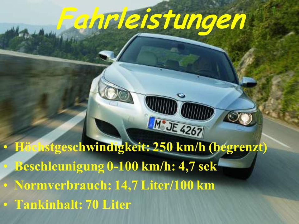 Fahrleistungen Höchstgeschwindigkeit: 250 km/h (begrenzt) Beschleunigung 0-100 km/h: 4,7 sek Normverbrauch: 14,7 Liter/100 km Tankinhalt: 70 Liter