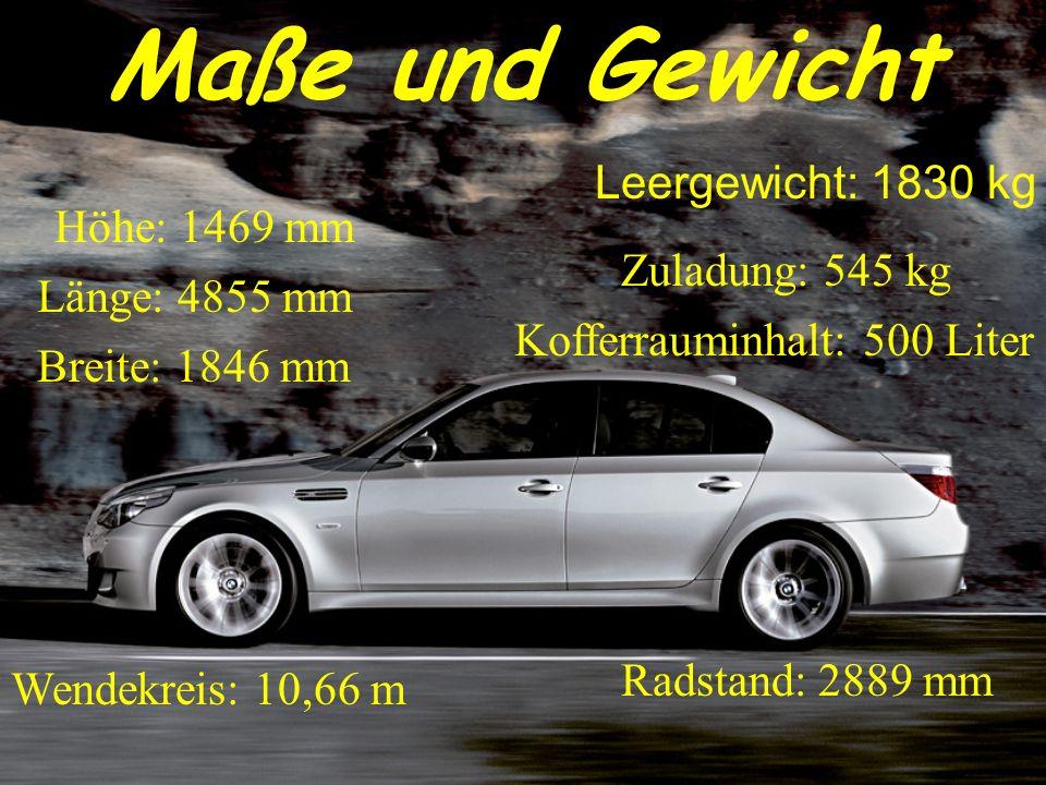 Maße und Gewicht Höhe: 1469 mm Länge: 4855 mm Breite: 1846 mm Leergewicht: 1830 kg Zuladung: 545 kg Kofferrauminhalt: 500 Liter Wendekreis: 10,66 m Ra