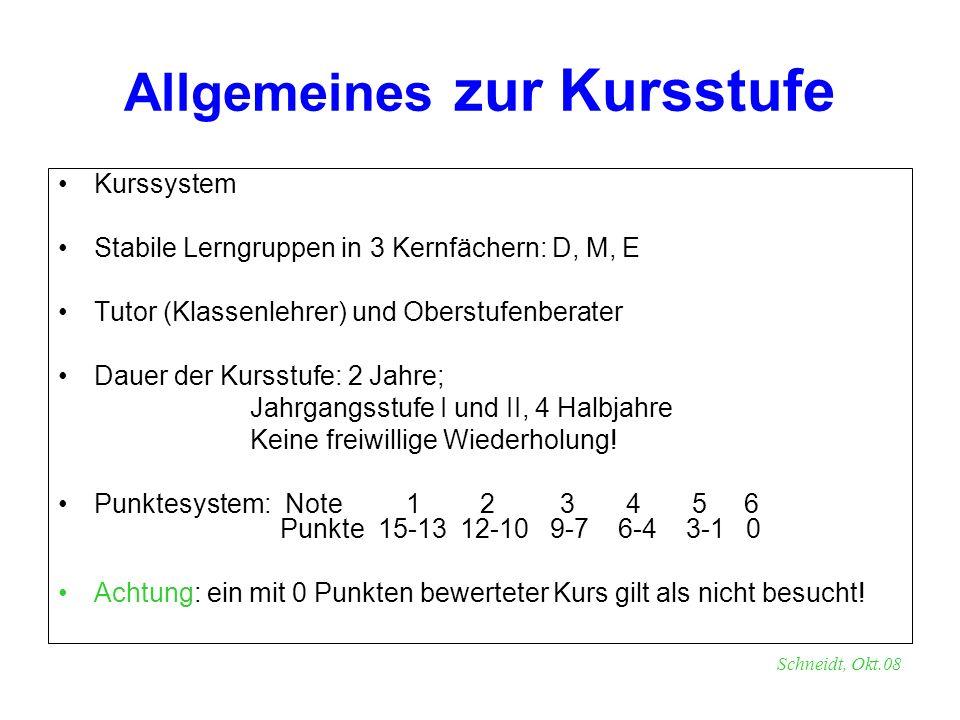 Allgemeines zur Kursstufe Kurssystem Stabile Lerngruppen in 3 Kernfächern: D, M, E Tutor (Klassenlehrer) und Oberstufenberater Dauer der Kursstufe: 2