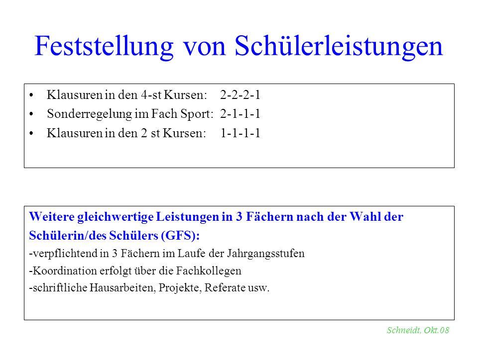 Klausuren in den 4-st Kursen:2-2-2-1 Sonderregelung im Fach Sport:2-1-1-1 Klausuren in den 2 st Kursen:1-1-1-1 Weitere gleichwertige Leistungen in 3 F