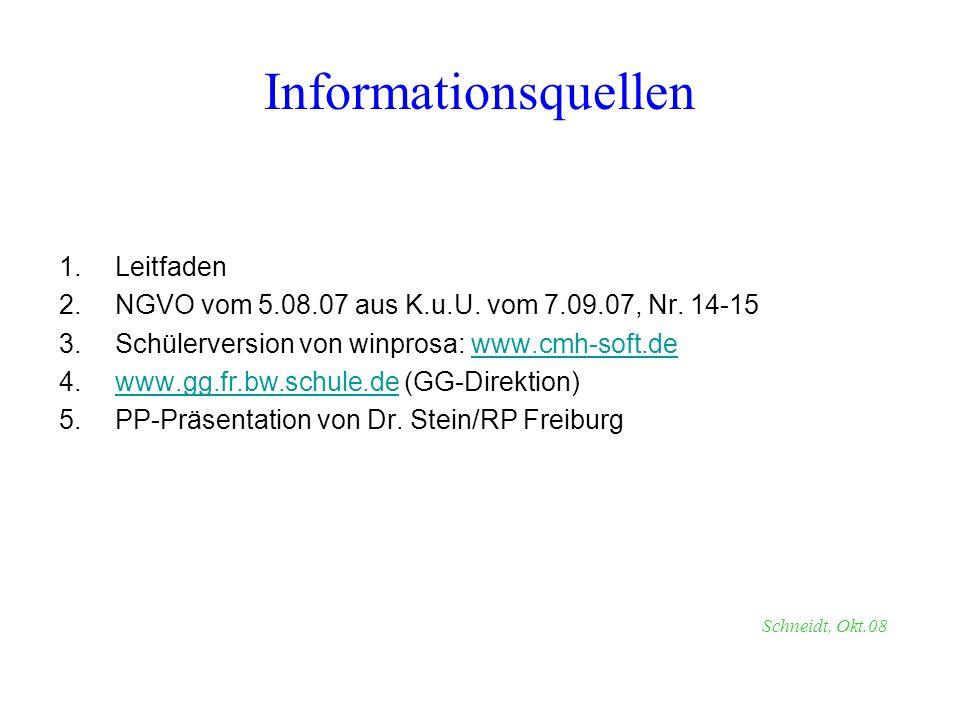 1.Leitfaden 2.NGVO vom 5.08.07 aus K.u.U. vom 7.09.07, Nr. 14-15 3.Schülerversion von winprosa: www.cmh-soft.dewww.cmh-soft.de 4.www.gg.fr.bw.schule.d