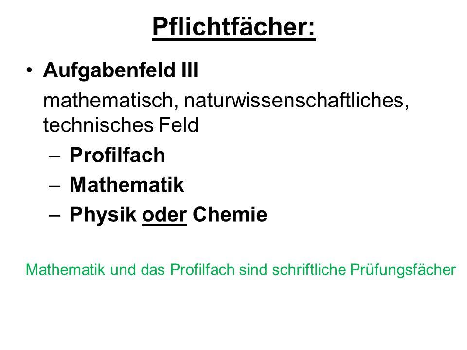 Pflichtfächer: Aufgabenfeld III mathematisch, naturwissenschaftliches, technisches Feld – Profilfach – Mathematik – Physik oder Chemie Mathematik und