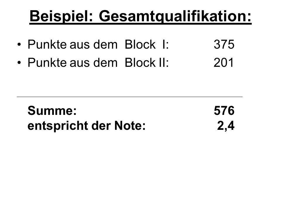 Beispiel: Gesamtqualifikation: Punkte aus dem Block I:375 Punkte aus dem Block II:201 Summe:576 entspricht der Note: 2,4