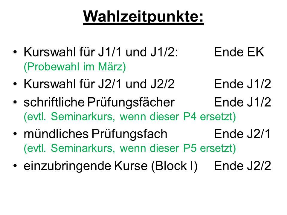 Wahlzeitpunkte: Kurswahl für J1/1 und J1/2:Ende EK (Probewahl im März) Kurswahl für J2/1 und J2/2Ende J1/2 schriftliche PrüfungsfächerEnde J1/2 (evtl.