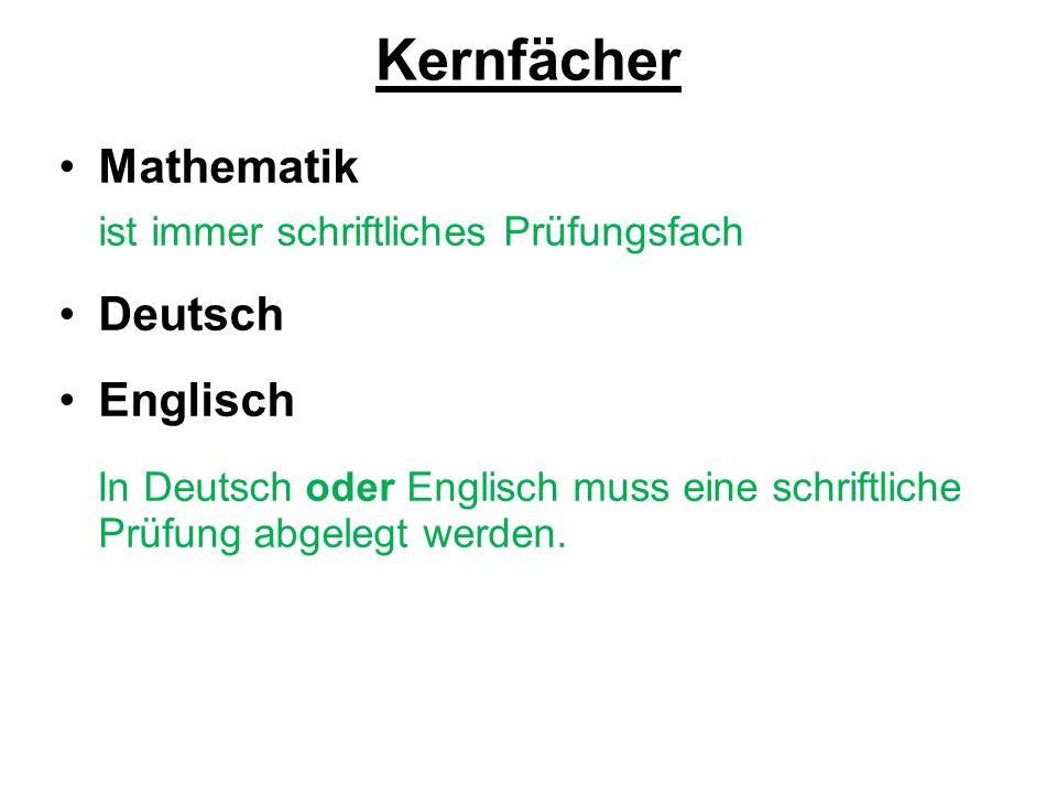 Kernfächer Mathematik ist immer schriftliches Prüfungsfach Deutsch Englisch In Deutsch oder Englisch muss eine schriftliche Prüfung abgelegt werden.