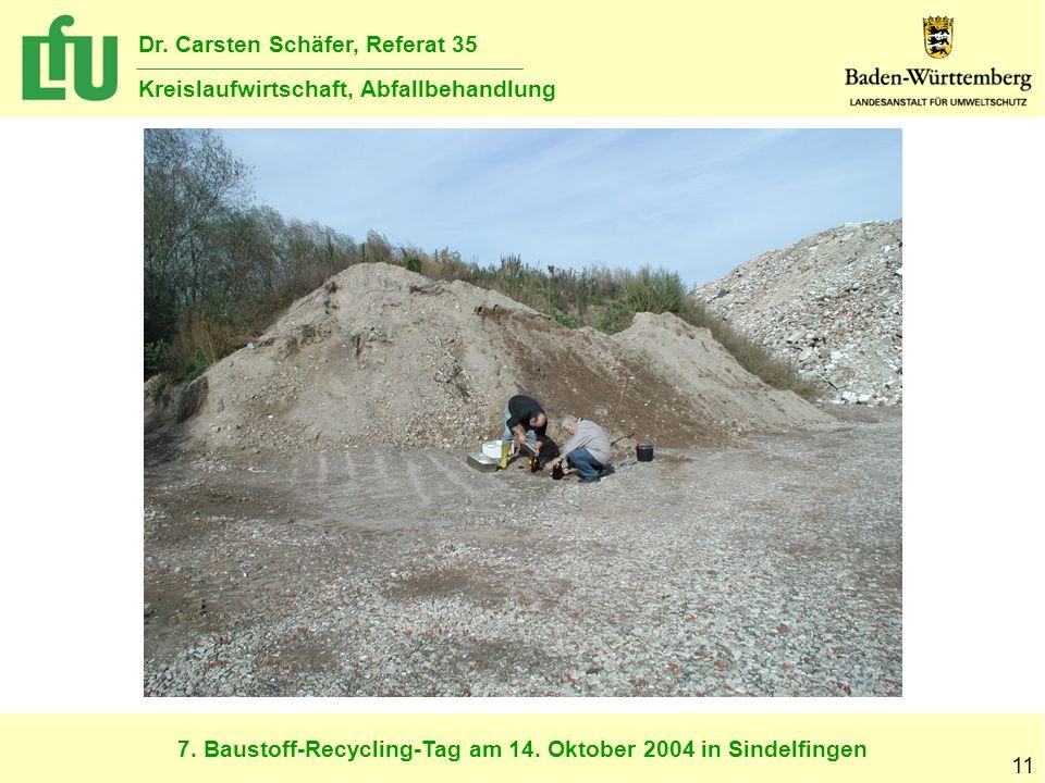 7. Baustoff-Recycling-Tag am 14. Oktober 2004 in Sindelfingen Dr. Carsten Schäfer, Referat 35 Kreislaufwirtschaft, Abfallbehandlung 11