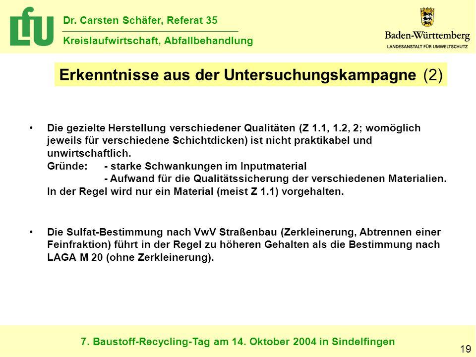 7. Baustoff-Recycling-Tag am 14. Oktober 2004 in Sindelfingen Dr. Carsten Schäfer, Referat 35 Kreislaufwirtschaft, Abfallbehandlung 19 Erkenntnisse au