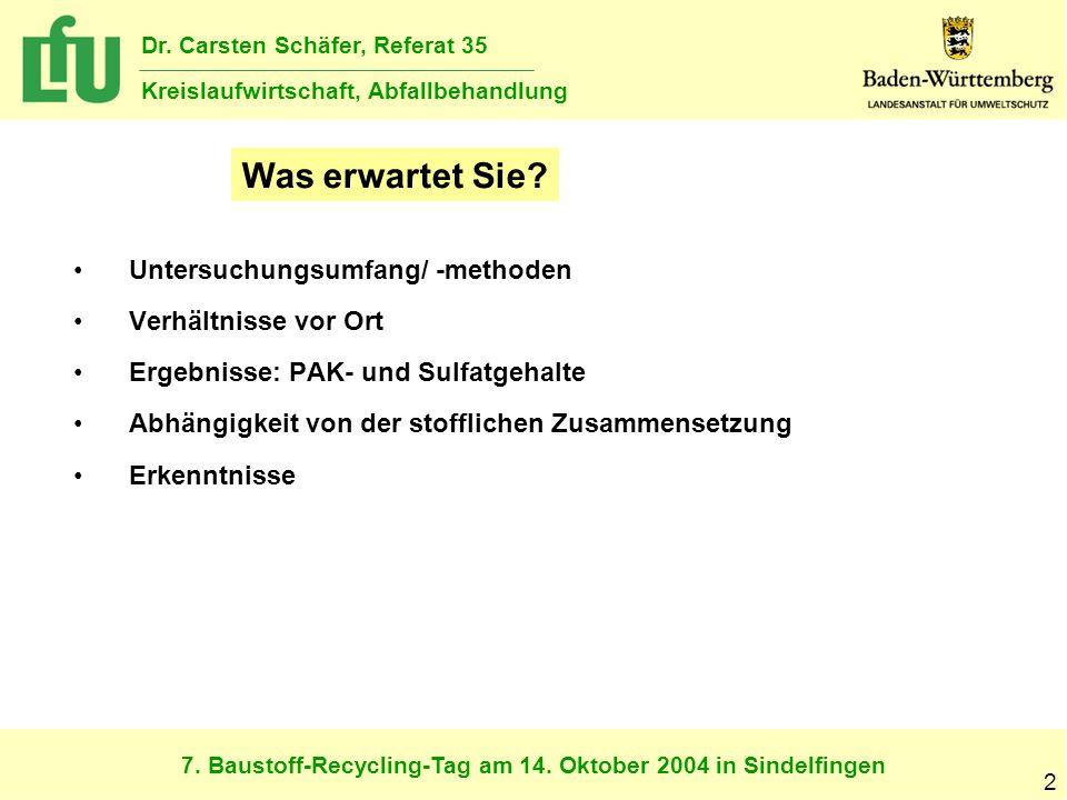 7. Baustoff-Recycling-Tag am 14. Oktober 2004 in Sindelfingen Dr. Carsten Schäfer, Referat 35 Kreislaufwirtschaft, Abfallbehandlung 2 Untersuchungsumf