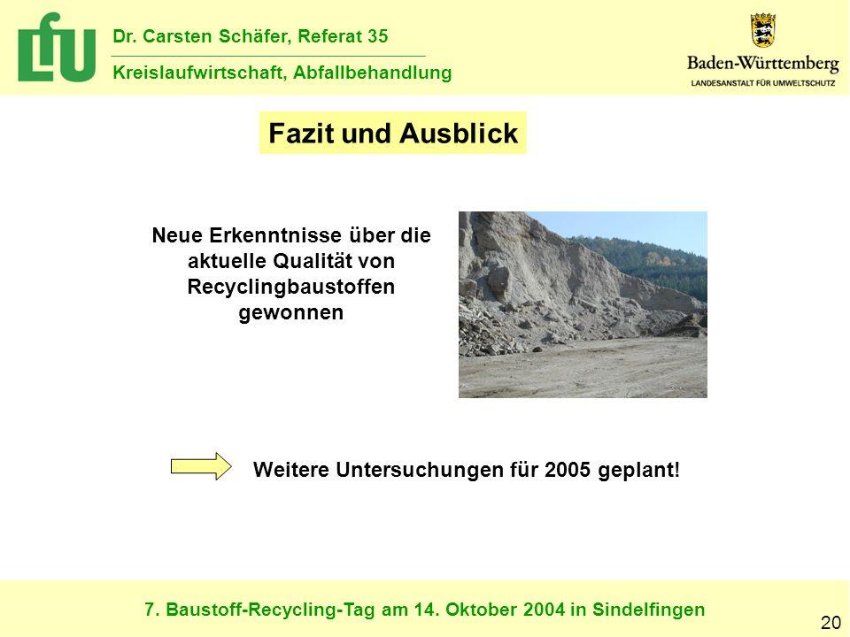 7. Baustoff-Recycling-Tag am 14. Oktober 2004 in Sindelfingen Dr. Carsten Schäfer, Referat 35 Kreislaufwirtschaft, Abfallbehandlung 20 Fazit und Ausbl