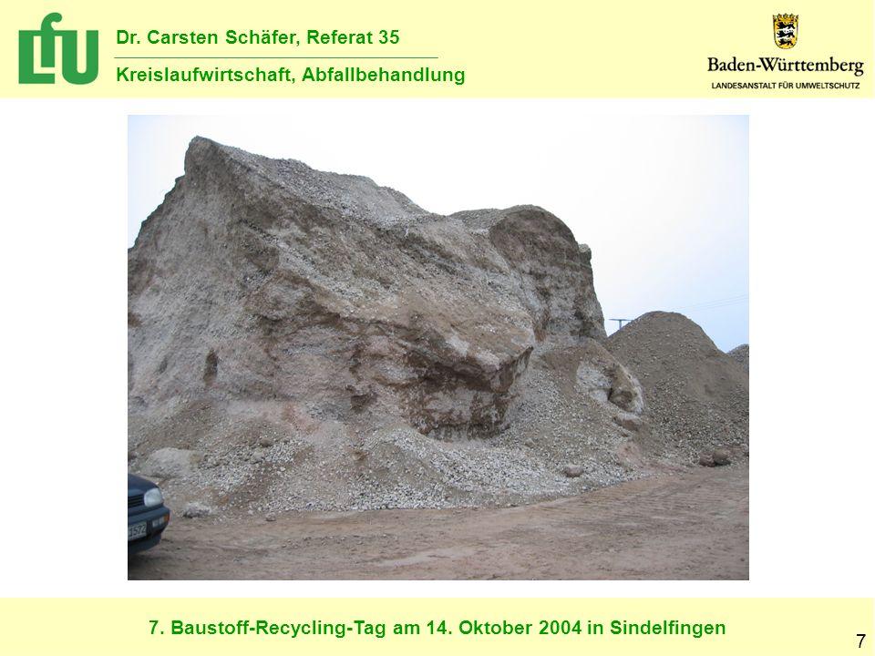 7. Baustoff-Recycling-Tag am 14. Oktober 2004 in Sindelfingen Dr. Carsten Schäfer, Referat 35 Kreislaufwirtschaft, Abfallbehandlung 7
