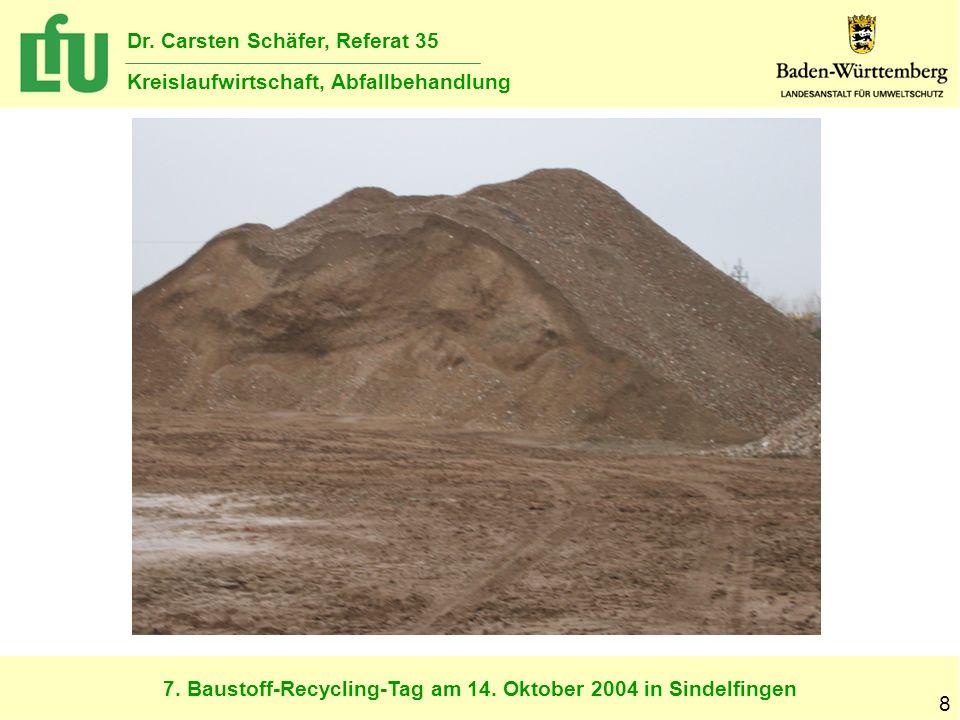 7. Baustoff-Recycling-Tag am 14. Oktober 2004 in Sindelfingen Dr. Carsten Schäfer, Referat 35 Kreislaufwirtschaft, Abfallbehandlung 8