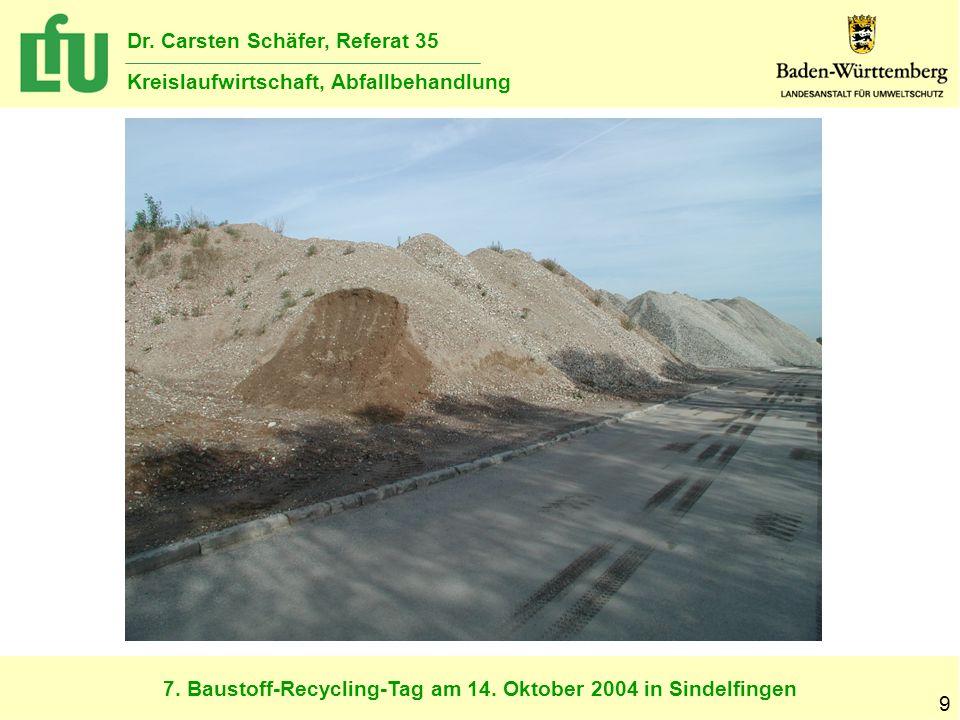 7. Baustoff-Recycling-Tag am 14. Oktober 2004 in Sindelfingen Dr. Carsten Schäfer, Referat 35 Kreislaufwirtschaft, Abfallbehandlung 9
