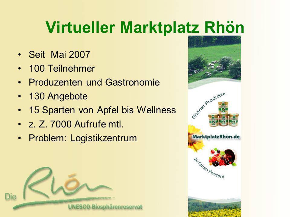 Virtueller Marktplatz Rhön Seit Mai 2007 100 Teilnehmer Produzenten und Gastronomie 130 Angebote 15 Sparten von Apfel bis Wellness z. Z. 7000 Aufrufe