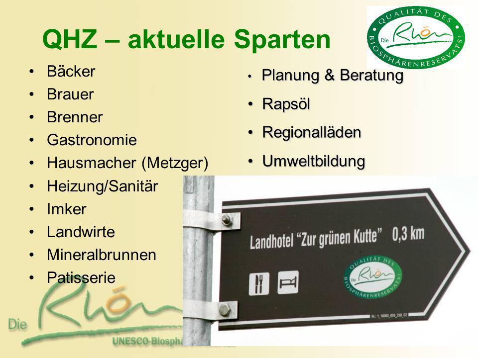 QHZ – aktuelle Sparten Bäcker Brauer Brenner Gastronomie Hausmacher (Metzger) Heizung/Sanitär Imker Landwirte Mineralbrunnen Patisserie Planung & Bera