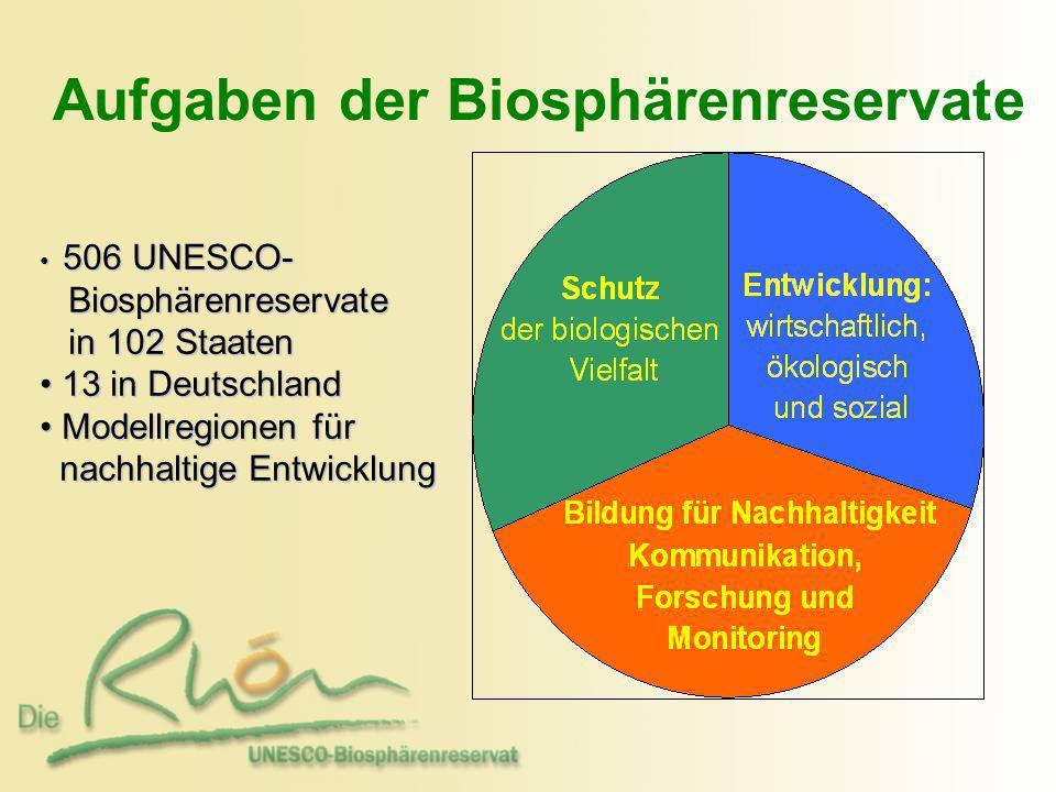 Aufgaben der Biosphärenreservate 506 UNESCO- 506 UNESCO- Biosphärenreservate Biosphärenreservate in 102 Staaten in 102 Staaten 13 in Deutschland 13 in