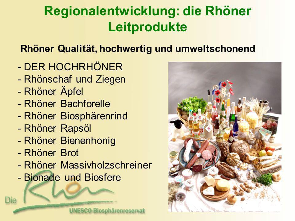 Regionalentwicklung: die Rhöner Leitprodukte Rhöner Qualität, hochwertig und umweltschonend - - DER HOCHRHÖNER - - Rhönschaf und Ziegen - Rhöner Äpfel