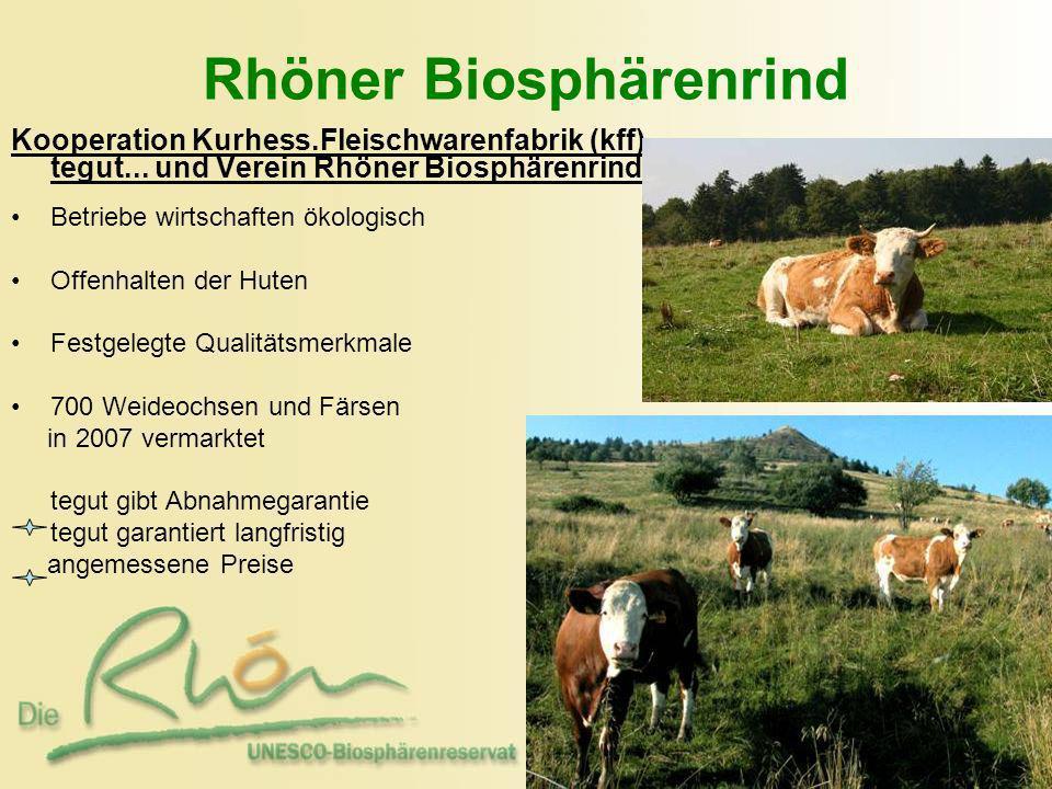 Rhöner Biosphärenrind Kooperation Kurhess.Fleischwarenfabrik (kff) tegut... und Verein Rhöner Biosphärenrind Betriebe wirtschaften ökologisch Offenhal