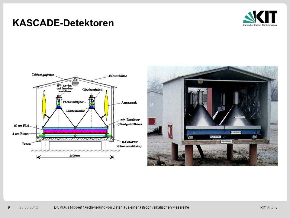KIT-Archiv 9 KASCADE-Detektoren Dr. Klaus Nippert / Archivierung von Daten aus einer astrophysikalischen Messreihe 23.06.2012