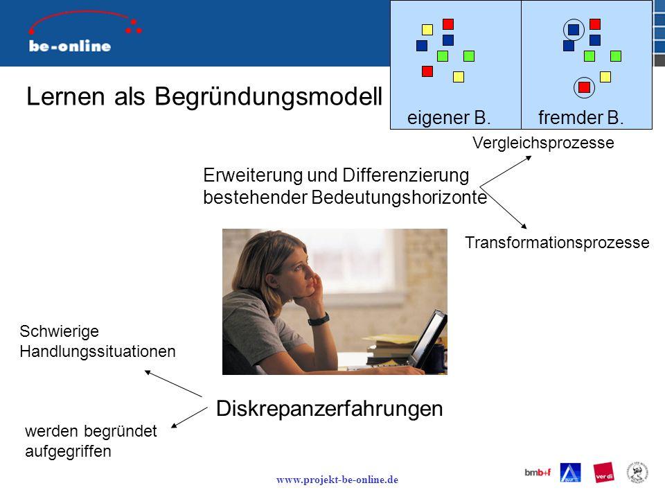 www.projekt-be-online.de Lernen als Begründungsmodell Diskrepanzerfahrungen Erweiterung und Differenzierung bestehender Bedeutungshorizonte werden begründet aufgegriffen Schwierige Handlungssituationen Transformationsprozesse Vergleichsprozesse eigener B.fremder B.
