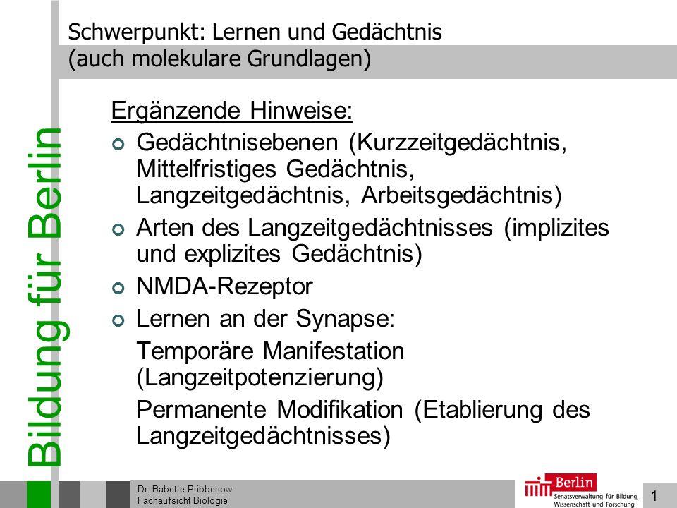 1 Bildung für Berlin Dr. Babette Pribbenow Fachaufsicht Biologie Schwerpunkt: Lernen und Gedächtnis (auch molekulare Grundlagen) Ergänzende Hinweise:
