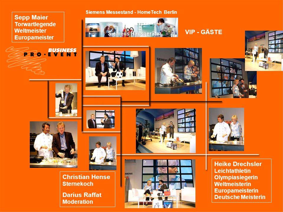 Siemens Messestand - HomeTech Berlin VIP - GÄSTE Sepp Maier Torwartlegende Weltmeister Europameister Heike Drechsler Leichtathletin Olympiasiegerin We