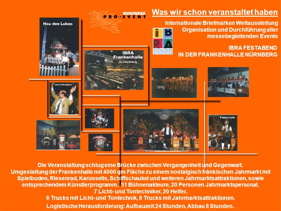Was wir schon veranstaltet haben Internationale Briefmarken Weltausstellung Organisation und Durchführung aller messebegleitenden Events IBRA FESTABEN