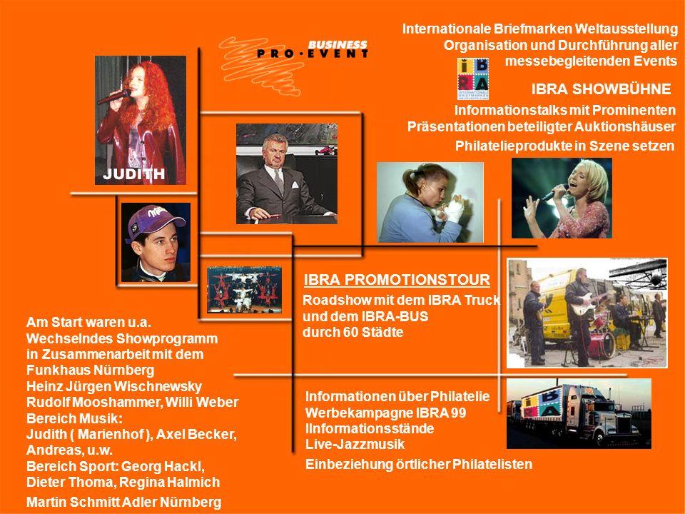 Internationale Briefmarken Weltausstellung Organisation und Durchführung aller messebegleitenden Events IBRA SHOWBÜHNE Am Start waren u.a. Wechselndes