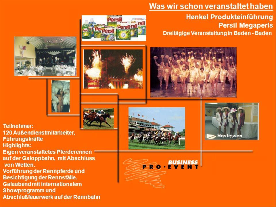 Henkel Produkteinführung Persil Megaperls Was wir schon veranstaltet haben Dreitägige Veranstaltung in Baden - Baden Teilnehmer: 120 Außendienstmitarb