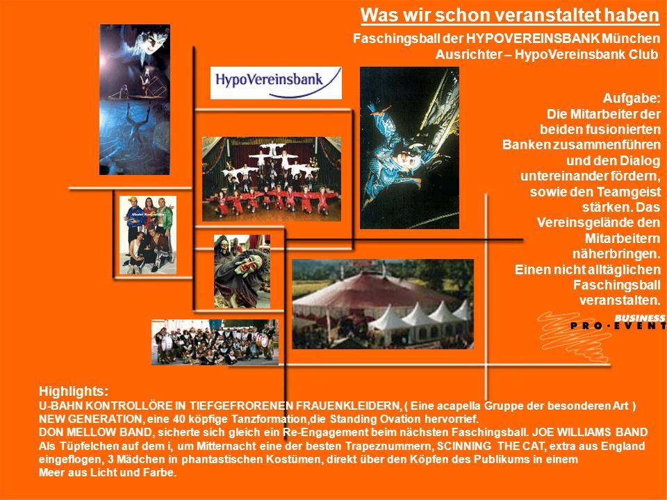 Faschingsball der HYPOVEREINSBANK München Ausrichter – HypoVereinsbank Club Highlights: U-BAHN KONTROLLÖRE IN TIEFGEFRORENEN FRAUENKLEIDERN, ( Eine ac