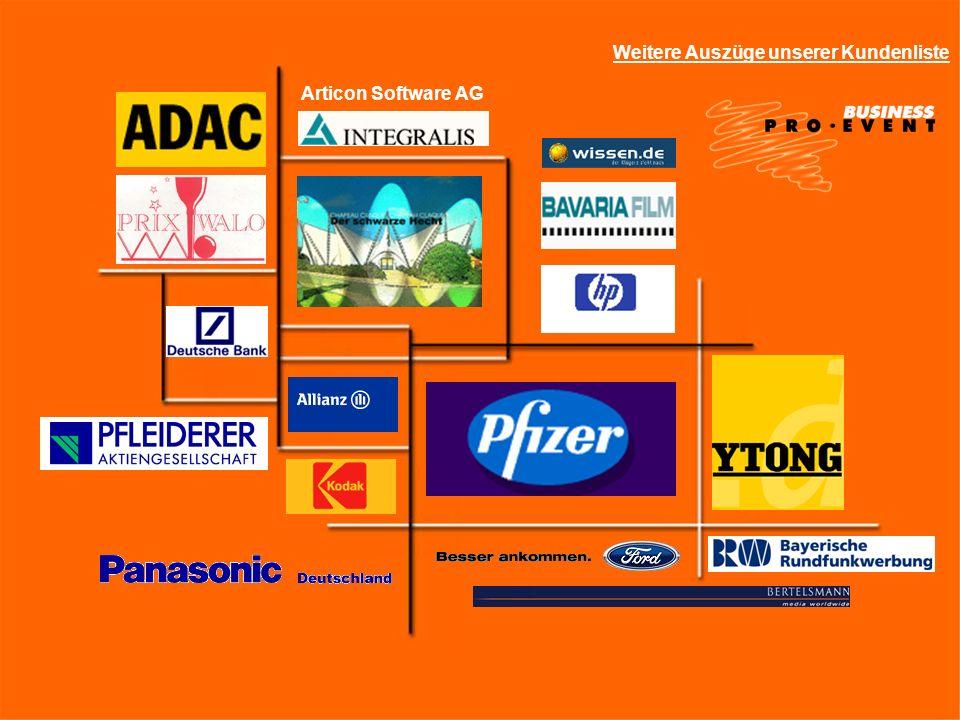 Weitere Auszüge unserer Kundenliste Articon Software AG