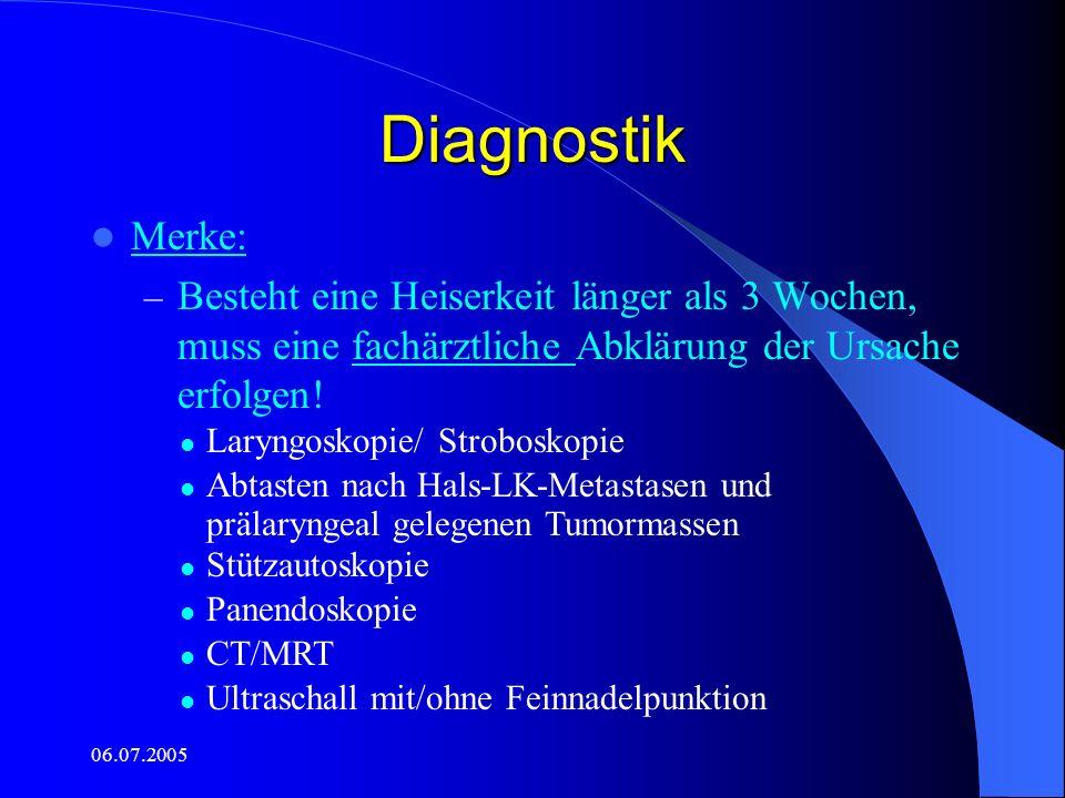 06.07.2005 Laryngoskopie-Befunde Kleines glottisches Carcinom: – Umschriebenes Areal – unregelmäßige, höckerig-körnige Oberfläche – Evtl.