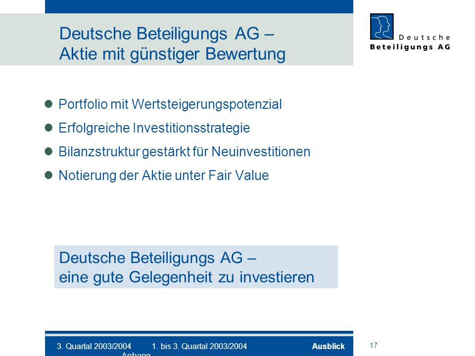17 Deutsche Beteiligungs AG – Aktie mit günstiger Bewertung Portfolio mit Wertsteigerungspotenzial Erfolgreiche Investitionsstrategie Bilanzstruktur gestärkt für Neuinvestitionen Notierung der Aktie unter Fair Value Deutsche Beteiligungs AG – eine gute Gelegenheit zu investieren 3.